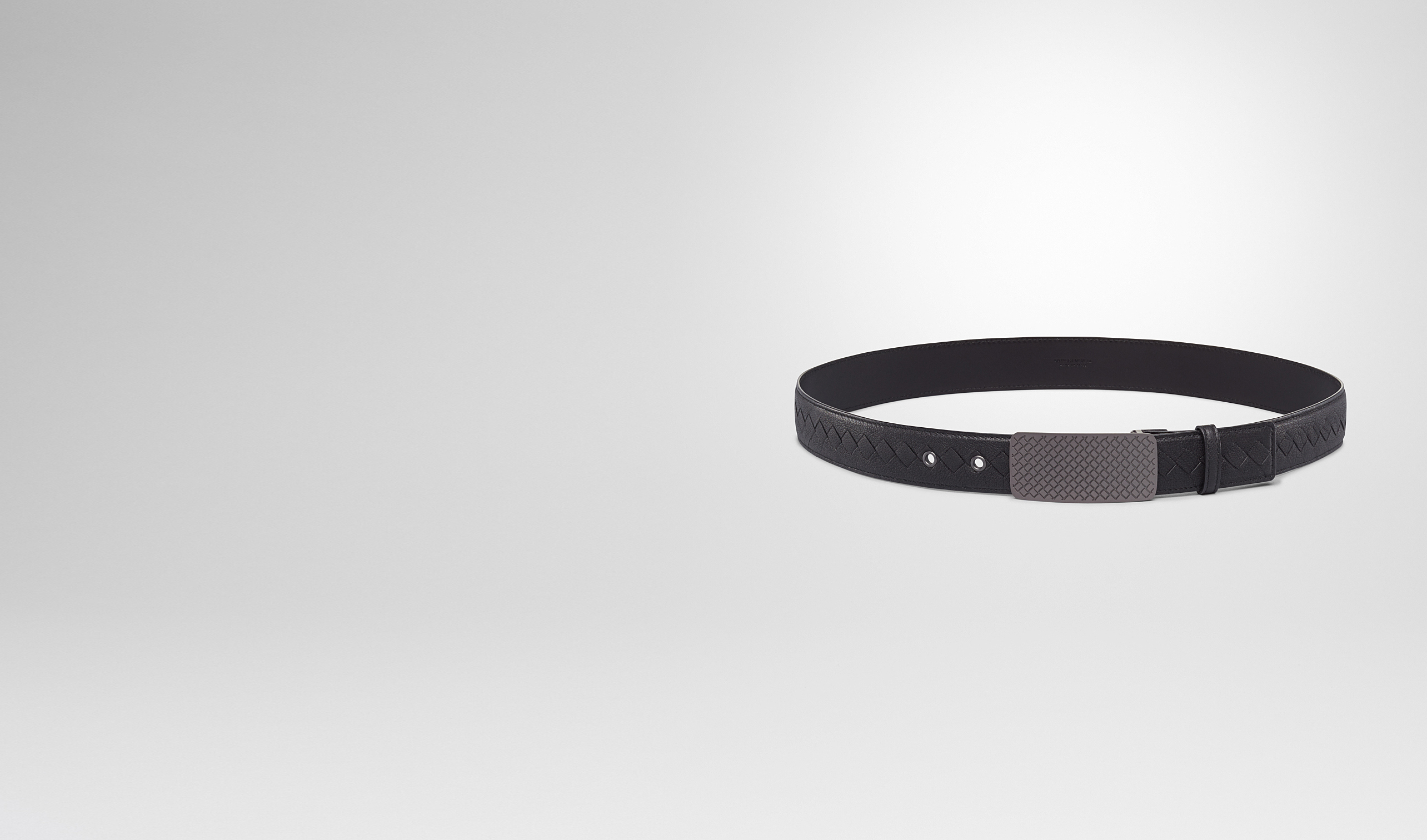 BOTTEGA VENETA Belt U Nero Buffalo Leather Metal Belt pl