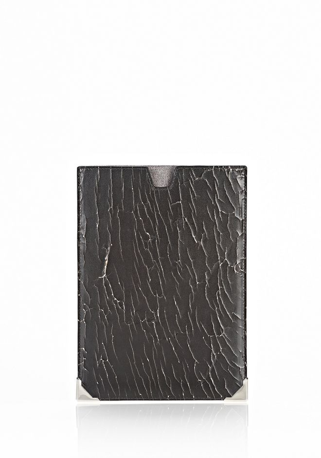 ALEXANDER WANG PRISMA SKELETAL IPAD MINI SLEEVE IN HEAVY CRACKED BLACK WITH RHODIUM TECH Adult 12_n_f