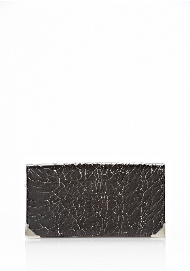ALEXANDER WANG PRISMA SKELETAL LONG COMPACT IN HEAVY CRACKED BLACK WITH RHODIUM Wallets Adult 12_n_d