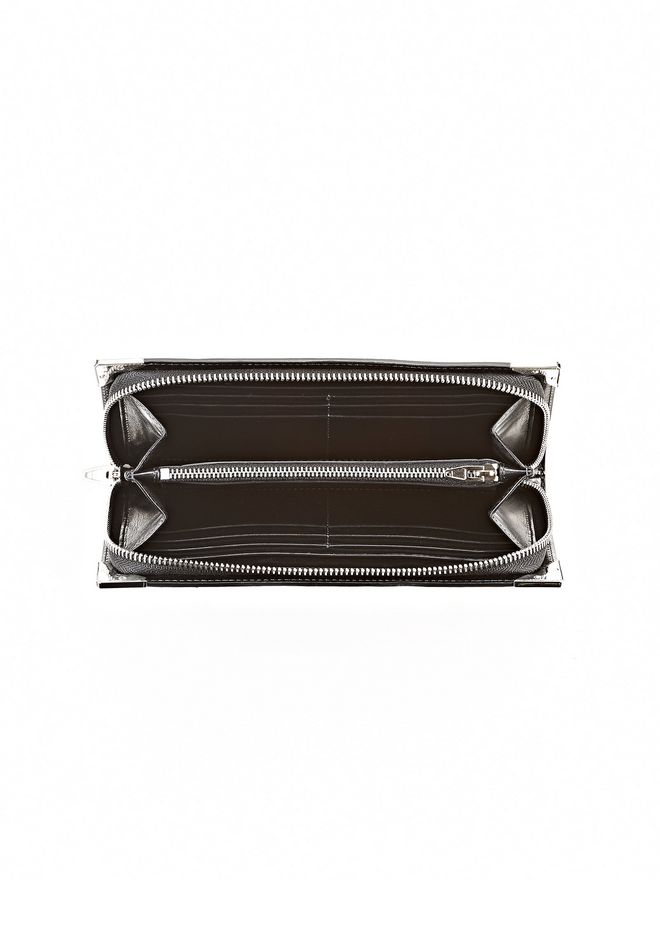 ALEXANDER WANG PRISMA SKELETAL LONG COMPACT IN HEAVY CRACKED BLACK WITH RHODIUM Wallets Adult 12_n_e