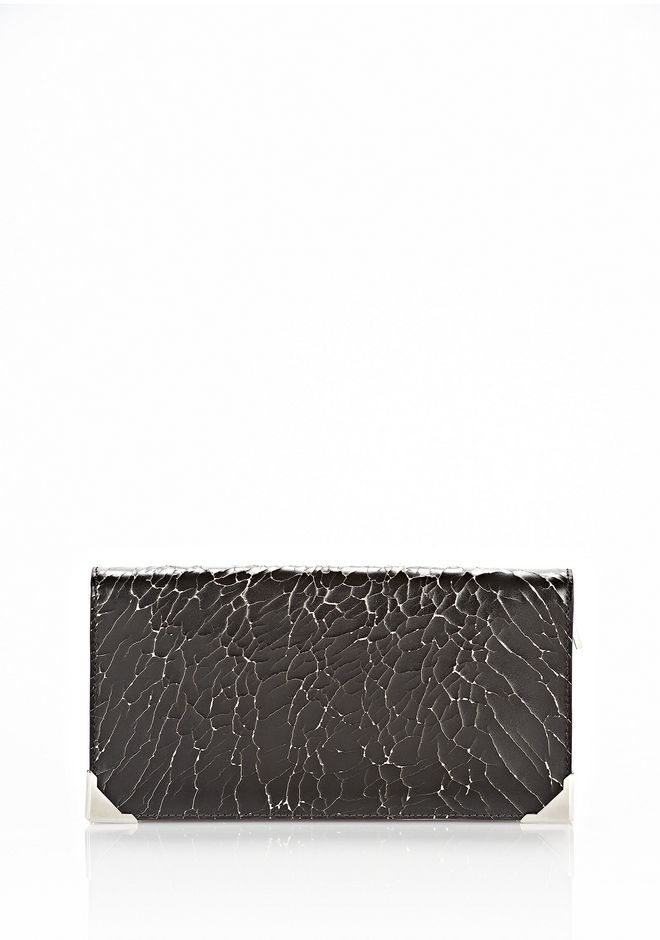 ALEXANDER WANG PRISMA SKELETAL LONG COMPACT IN HEAVY CRACKED BLACK WITH RHODIUM Wallets Adult 12_n_f