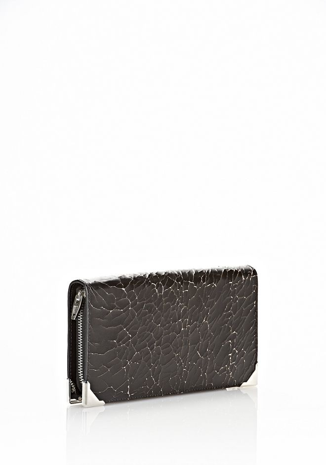 ALEXANDER WANG PRISMA SKELETAL LONG COMPACT IN HEAVY CRACKED BLACK WITH RHODIUM Wallets Adult 12_n_r