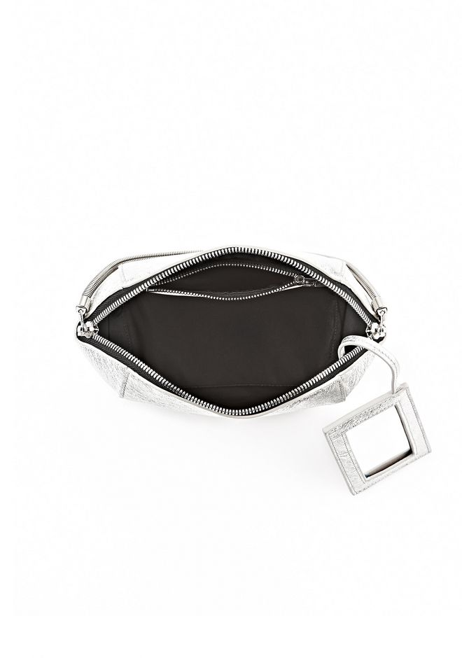 ALEXANDER WANG CHASTITY MAKE-UP POUCH IN FOILED RHODIUM WITH NICKEL SMALL LEATHER GOOD Adult 12_n_a
