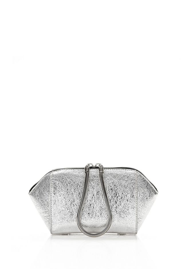 ALEXANDER WANG CHASTITY MAKE-UP POUCH IN FOILED RHODIUM WITH NICKEL SMALL LEATHER GOOD Adult 12_n_f