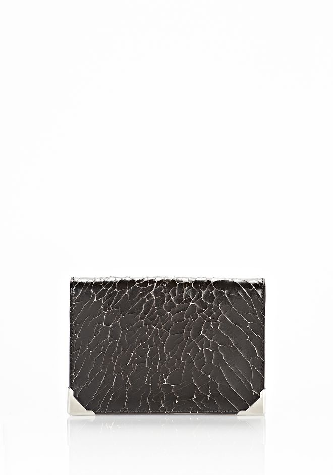 ALEXANDER WANG PRISMA SKELETAL BIKER PURSE IN HEAVY CRACKED BLACK WITH RHODIUM Wallets Adult 12_n_f