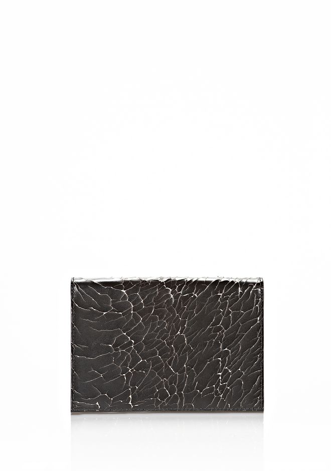 ALEXANDER WANG PRISMA SKELETAL BIKER PURSE IN HEAVY CRACKED BLACK WITH RHODIUM Wallets Adult 12_n_r