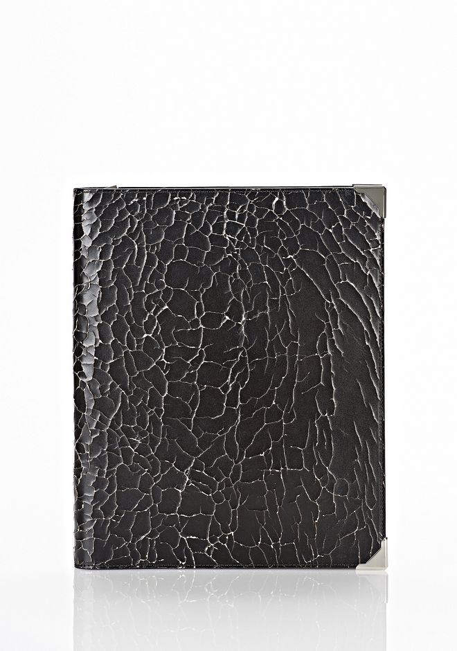 ALEXANDER WANG PRISMA SKELETAL IPAD CASE IN HEAVY CRACKED BLACK WITH RHODIUM TECH Adult 12_n_f
