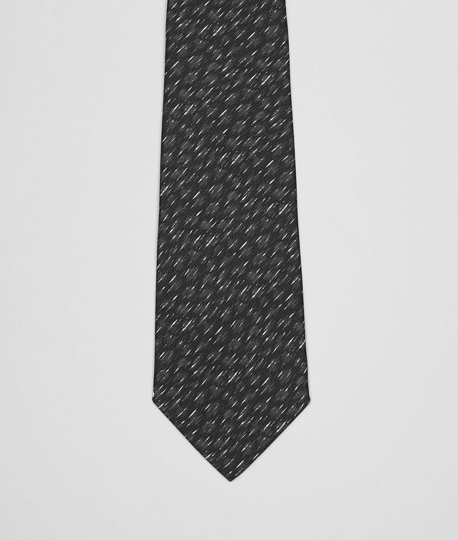 BOTTEGA VENETA BLACK DARK GREY SILK TIE Tie U fp