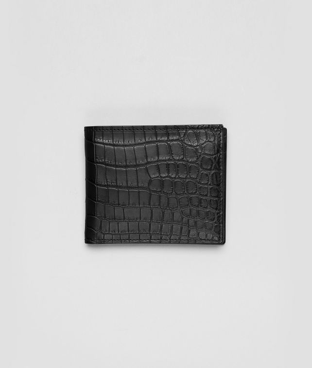 BOTTEGA VENETA BI-FOLD WALLET WITH COIN PURSE IN NERO CROCODILE Bi-fold Wallet U fp