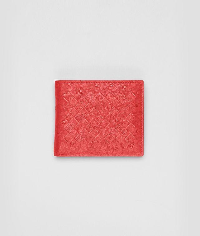 BOTTEGA VENETA NEW RED INTRECCIATO ANTIQUE OSTRICH WALLET Bi-fold Wallet U fp