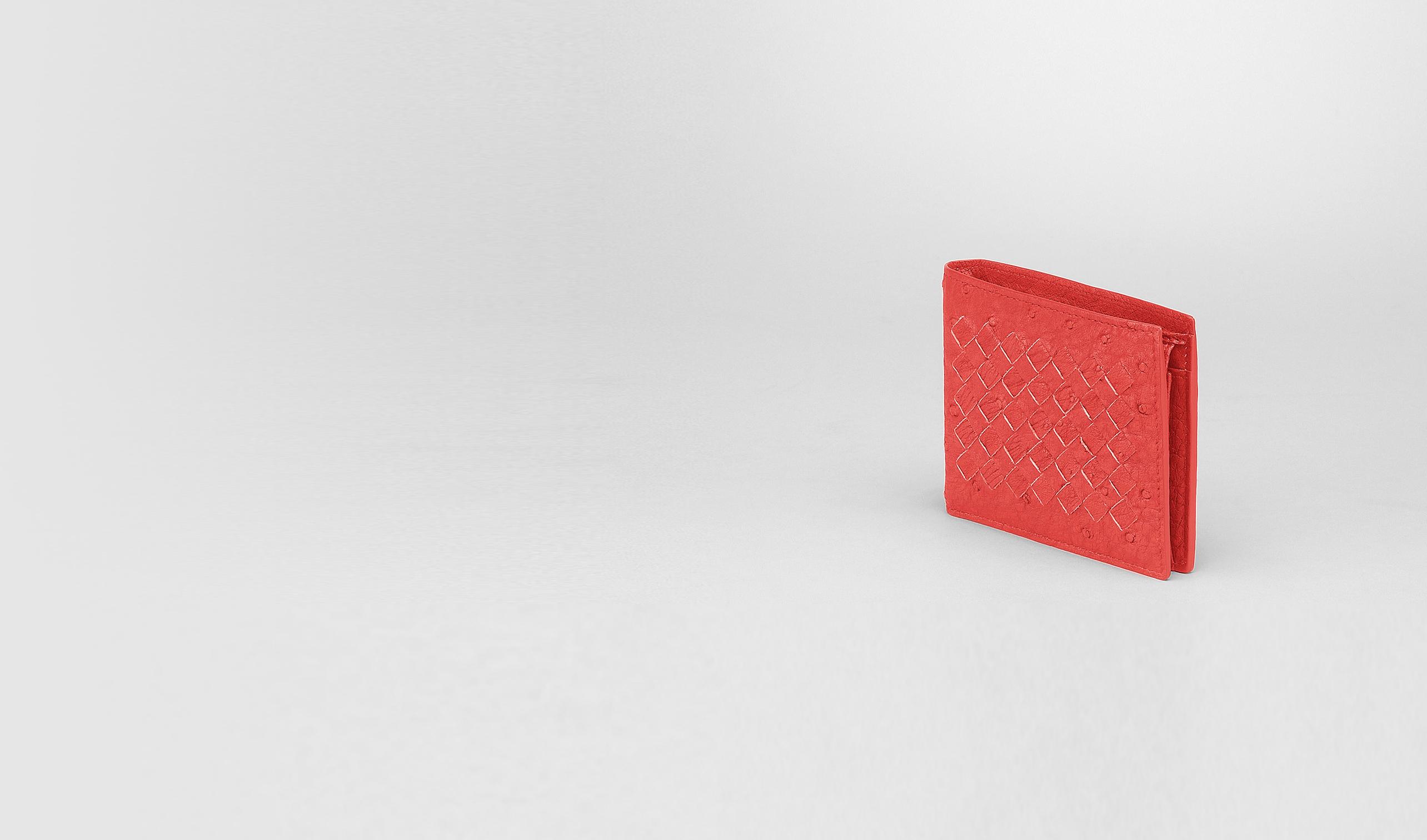 BOTTEGA VENETA Bi-fold Wallet U NEW RED INTRECCIATO ANTIQUE OSTRICH WALLET pl