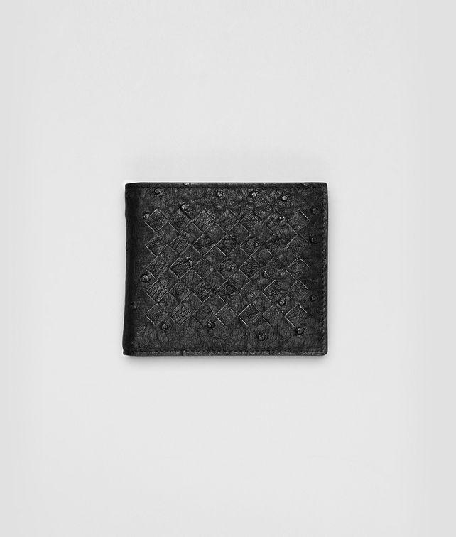 BOTTEGA VENETA WALLET IN NERO OSTRICH Bi-fold Wallet U fp