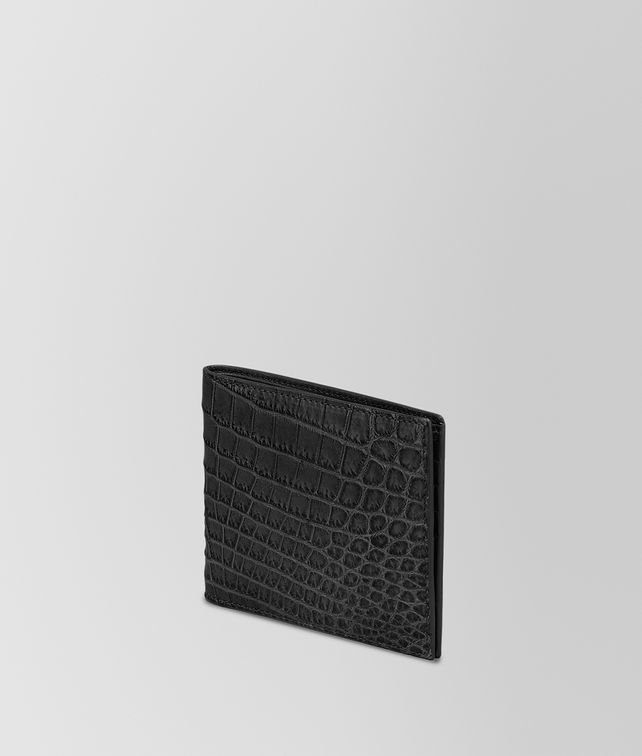 BI-FOLD WALLET IN NERO CROCODILE