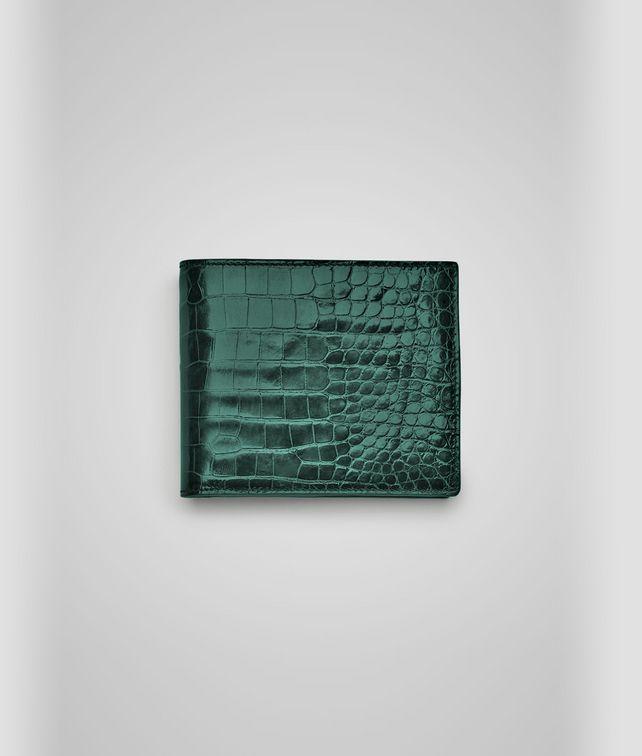 BOTTEGA VENETA MENTHE CROCODILE FUME' WALLET Bi-fold Wallet U fp