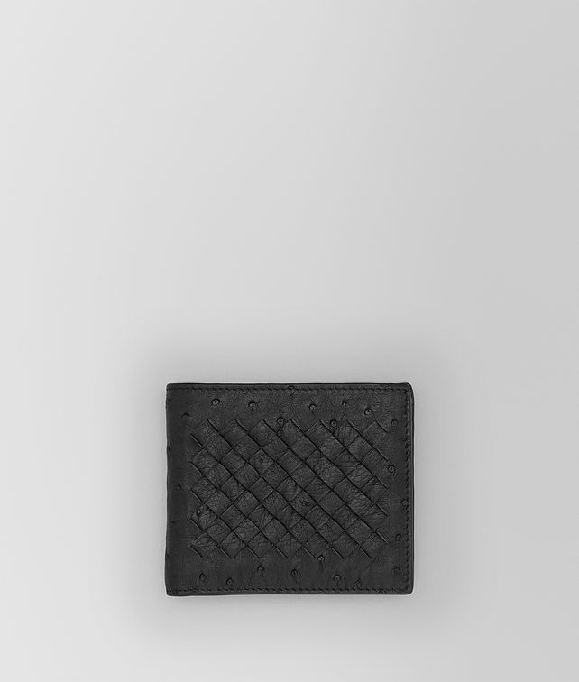 BOTTEGA VENETA BI-FOLD WALLET IN NERO OSTRICH Small Wallet Man fp