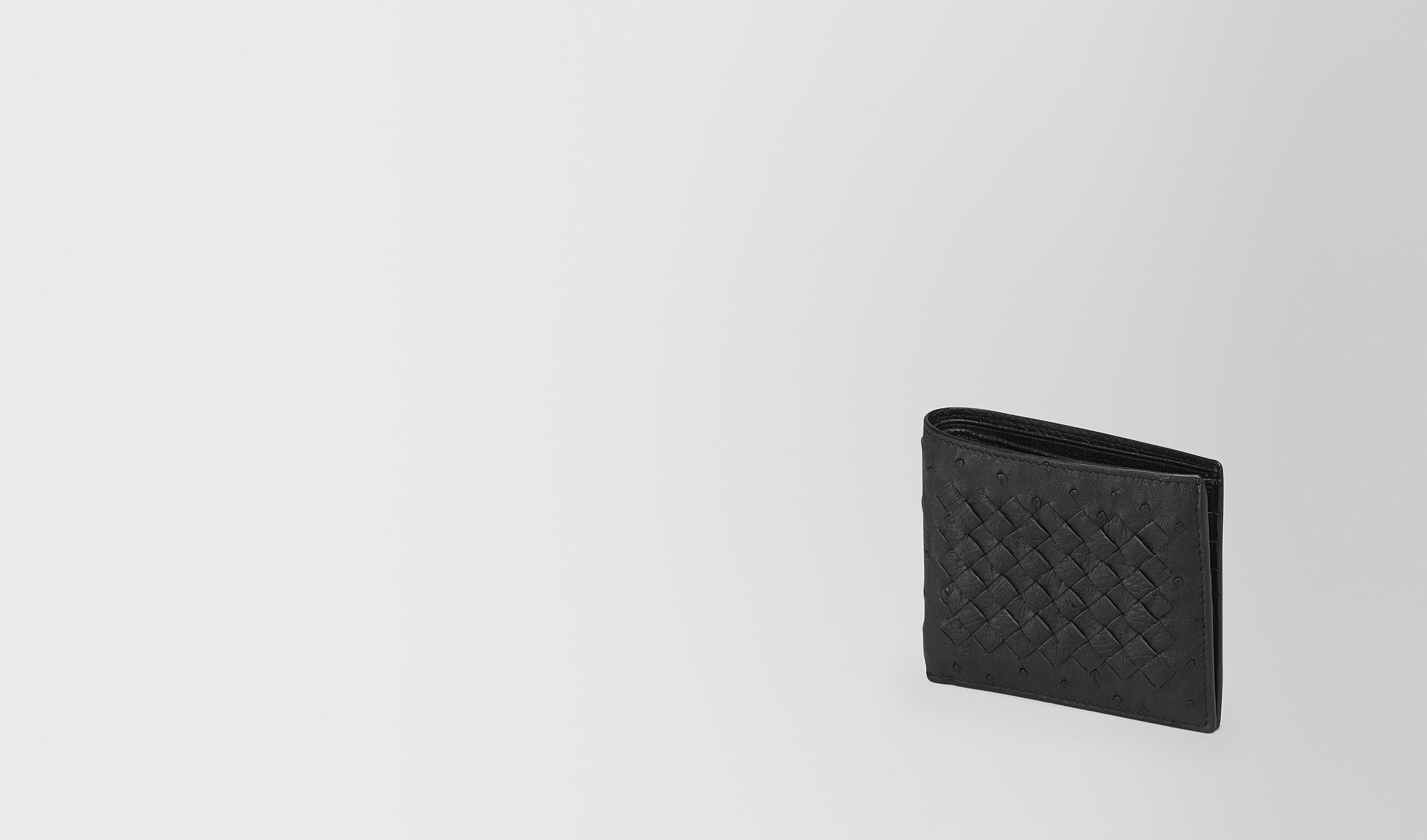 BOTTEGA VENETA Bi-fold Wallet U BI-FOLD WALLET IN NERO OSTRICH pl