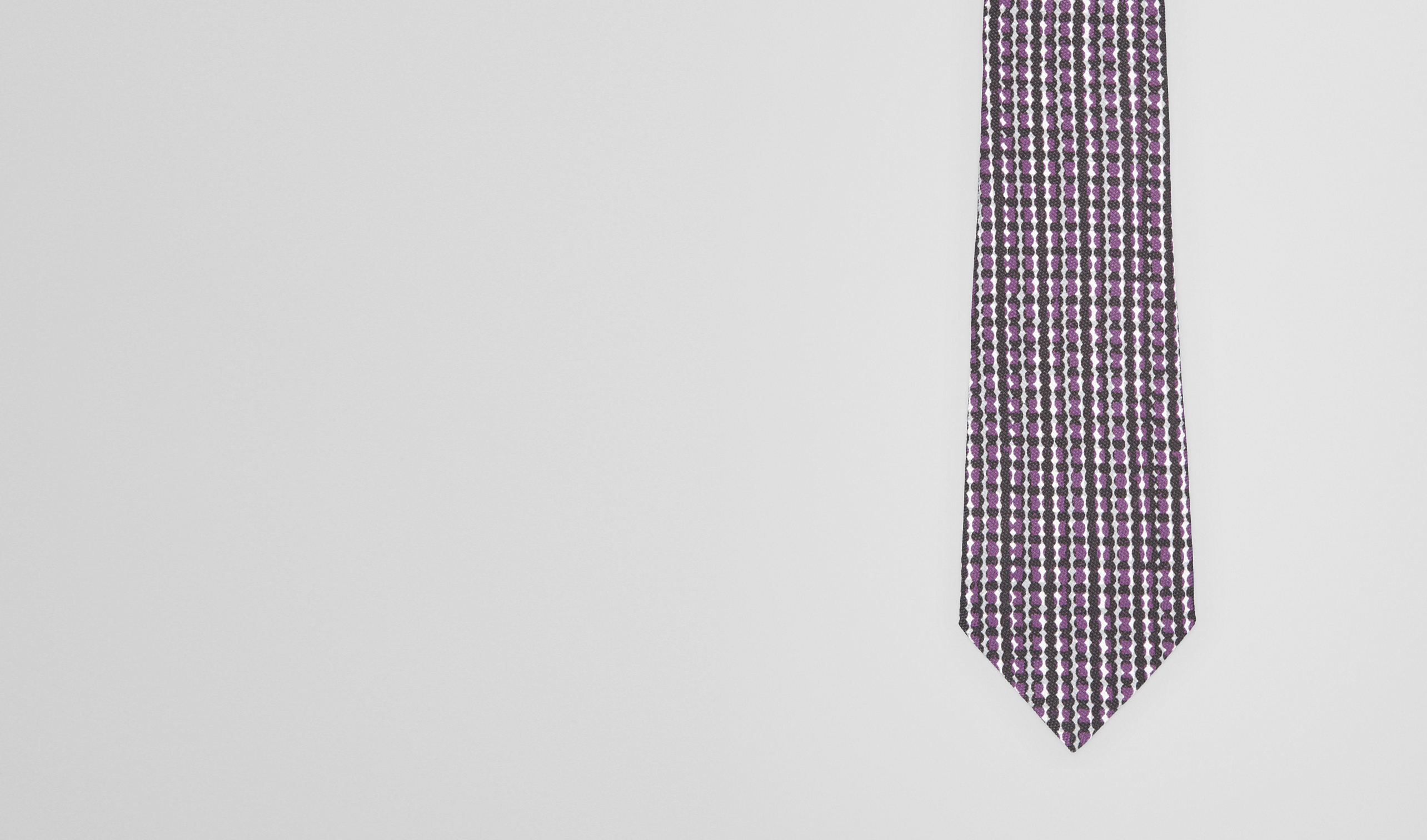 BOTTEGA VENETA Tie U BLACK DARK PURPLE COTTON SILK TIE pl