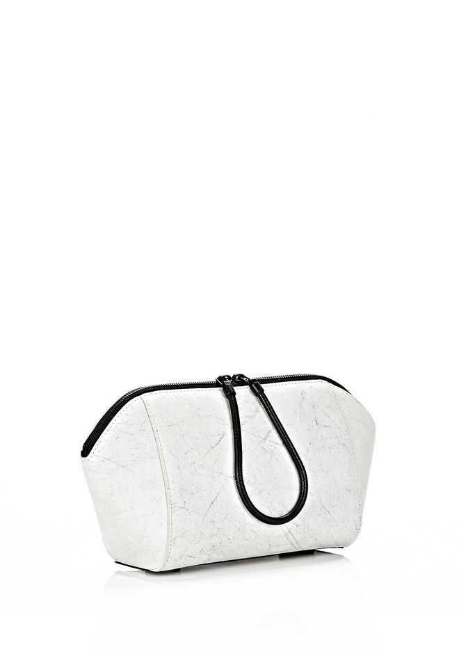 ALEXANDER WANG EXCLUSIVE LARGE CHASTITY MAKE UP POUCH IN CHALK SMALL LEATHER GOOD Adult 12_n_r