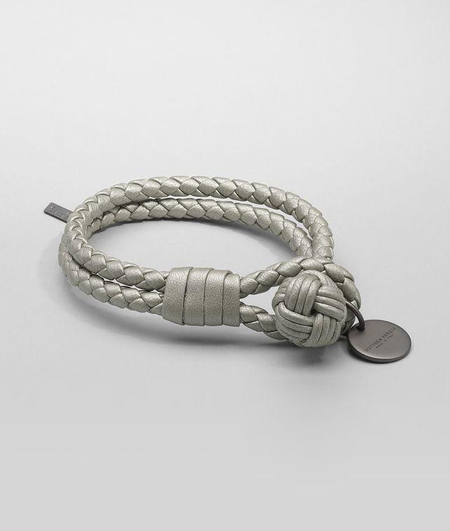 BOTTEGA VENETA PLATINUM INTRECCIATO NAPPA METALLIZZATO Bracelet Keyring or Bracelets D fp