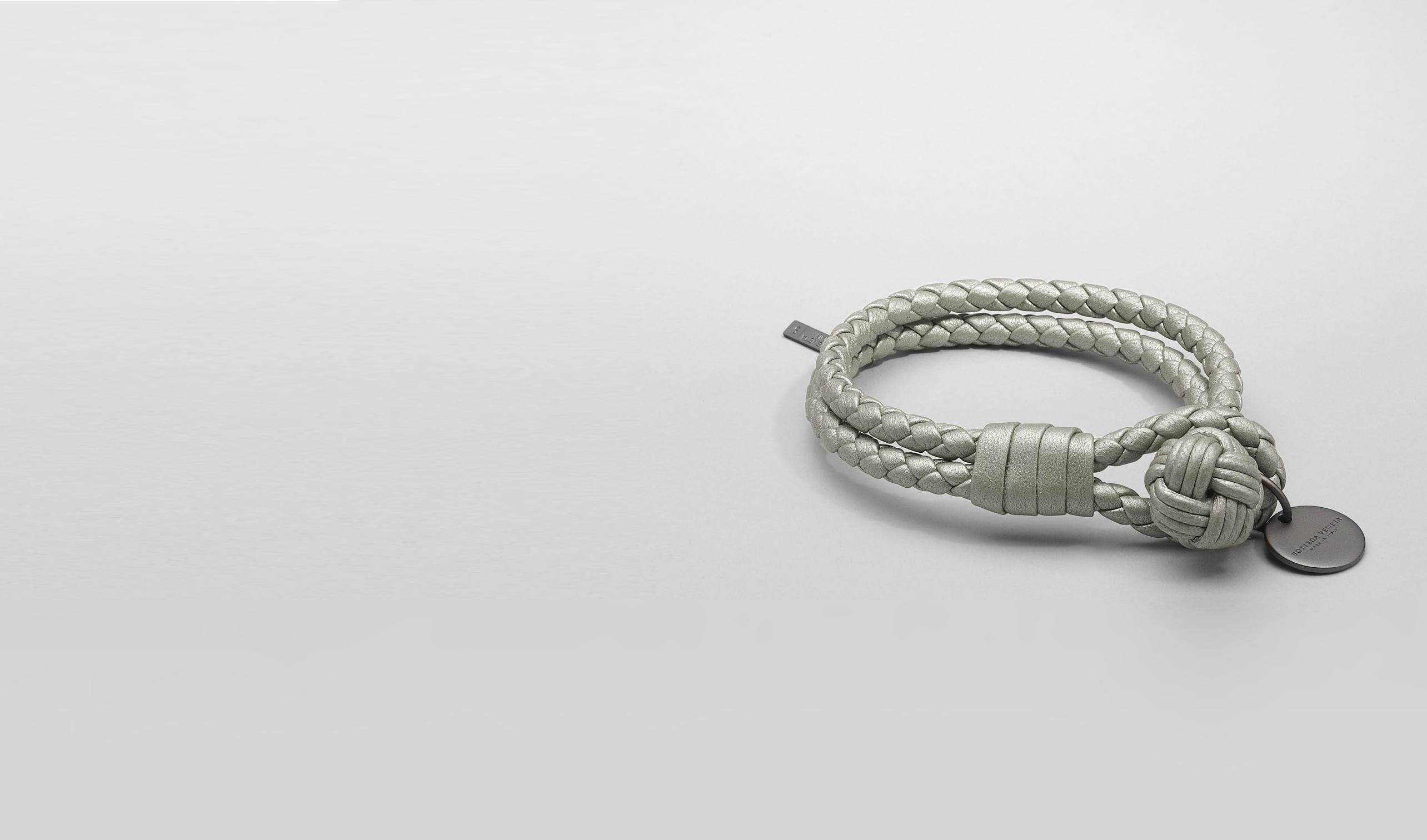 BOTTEGA VENETA Keyring or Bracelets D PLATINUM INTRECCIATO NAPPA METALLIZZATO Bracelet pl