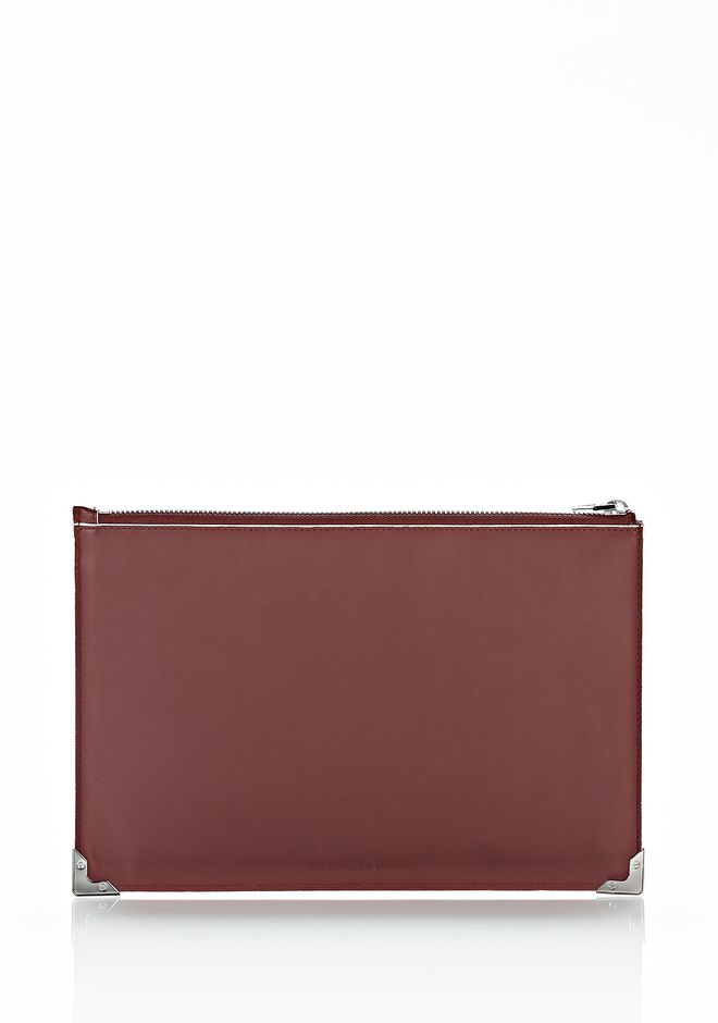 ALEXANDER WANG PRISMA FLAT POUCH IN CORDOVAN SOFT DRAPE CALF WITH RHODIUM SMALL LEATHER GOOD Adult 12_n_f