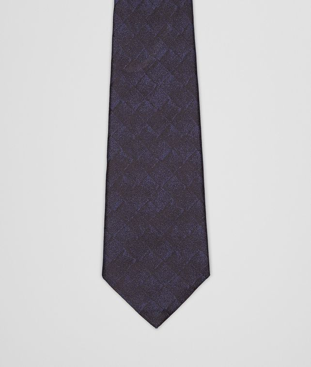 BOTTEGA VENETA TIE IN TOURMALINE NERO SILK Tie Man fp
