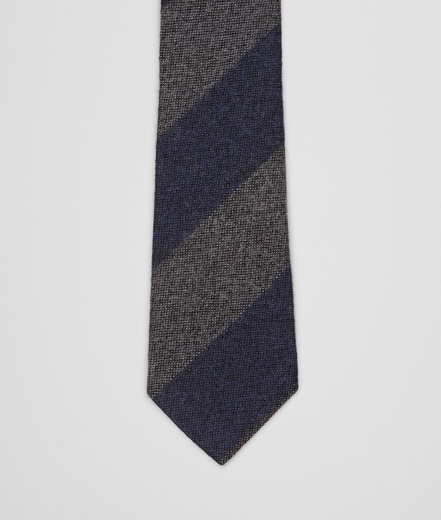 BOTTEGA VENETA Navy Dark Grey Wool Silk Tie Tie U fp