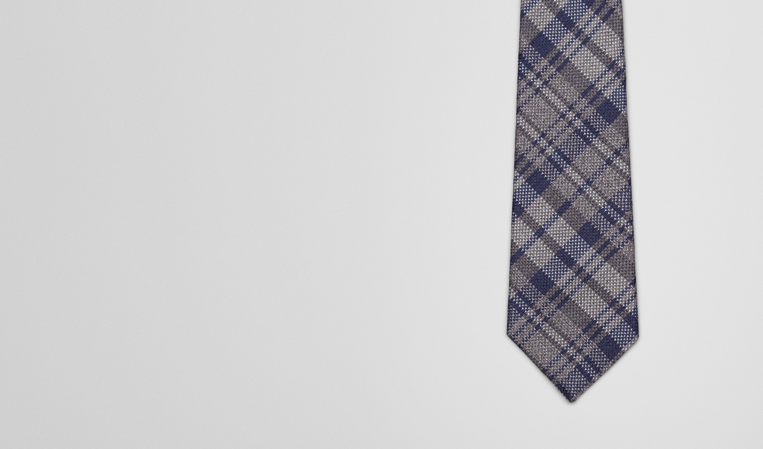 BOTTEGA VENETA Tie U Graphite Blue Wool Silk Tie pl
