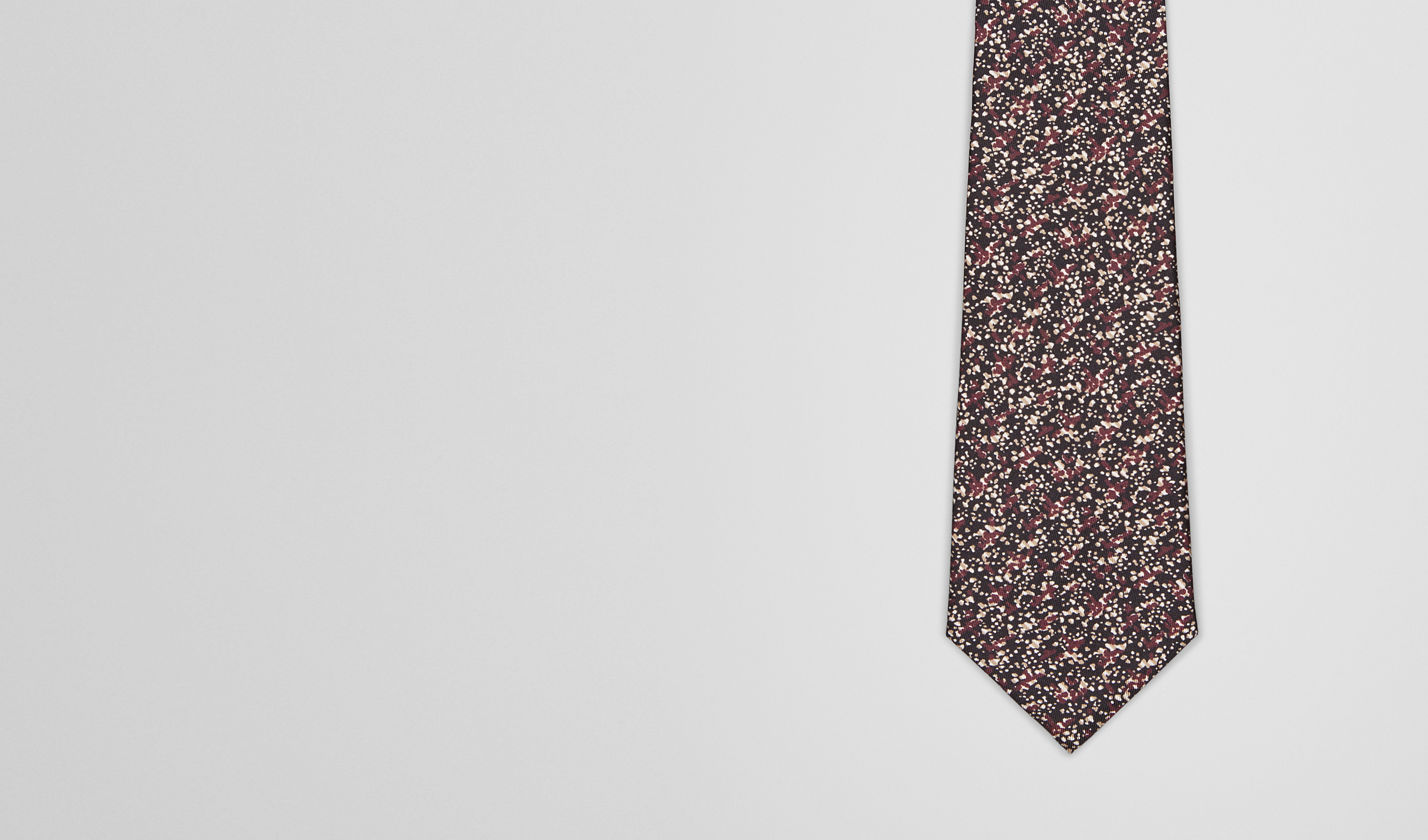 BOTTEGA VENETA Tie U Aubergine Black Silk Tie pl