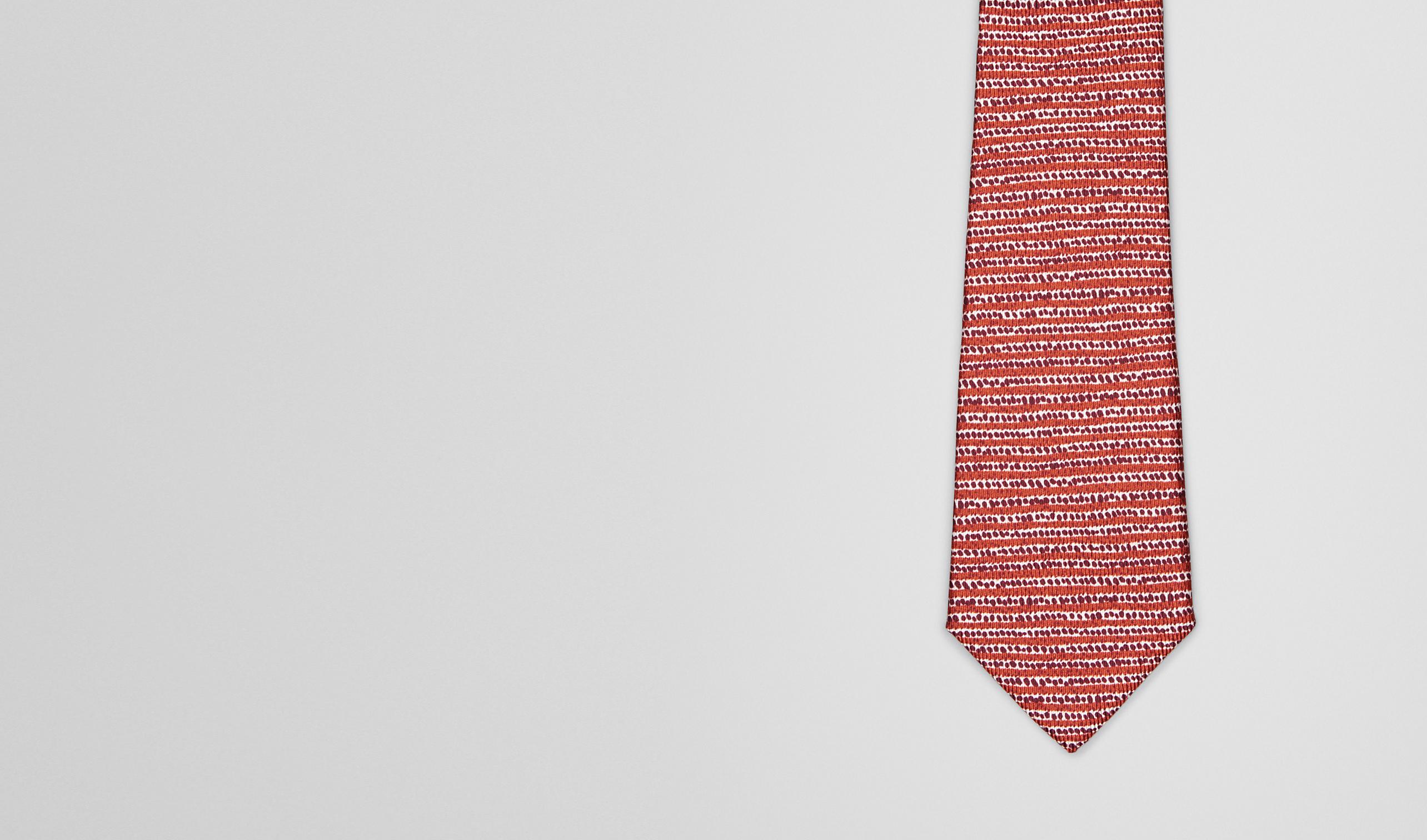 BOTTEGA VENETA Tie U Sienna Bordeaux Silk Tie pl