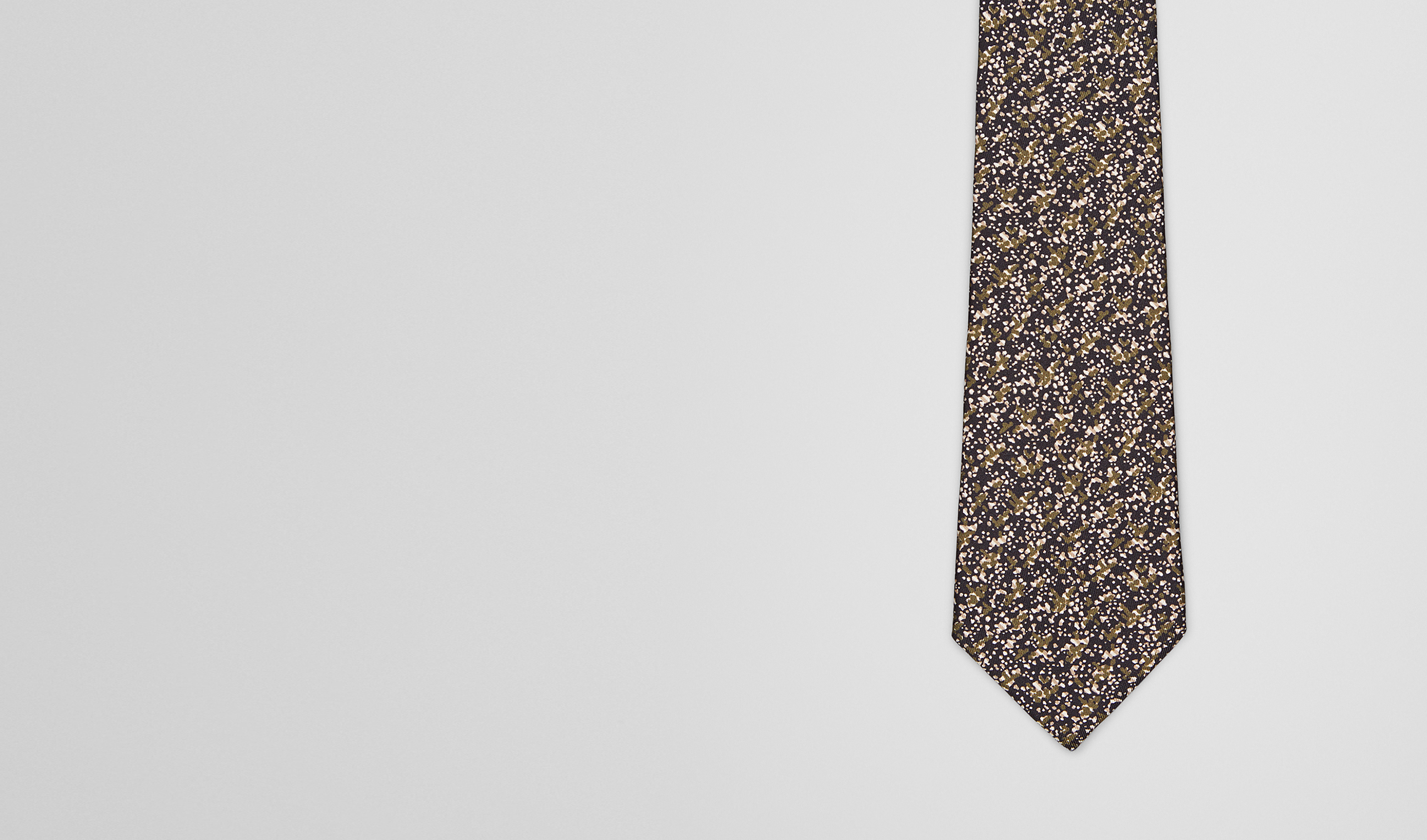 BOTTEGA VENETA Tie U TIE IN OLIVE BLACK SILK pl