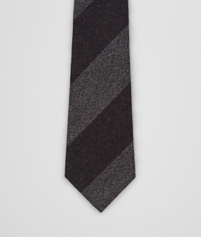BOTTEGA VENETA Aubergine Medium Grey Wool Silk Tie Tie U fp
