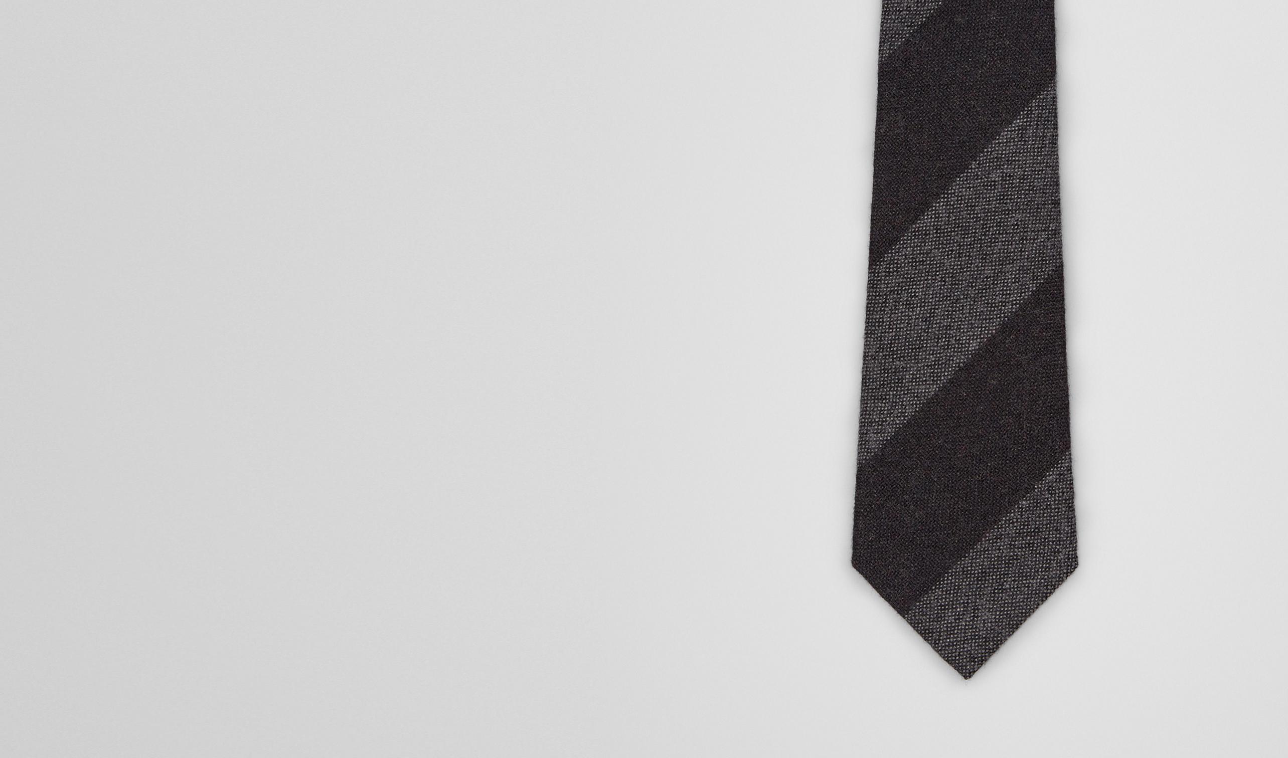 BOTTEGA VENETA Tie U Aubergine Medium Grey Wool Silk Tie pl