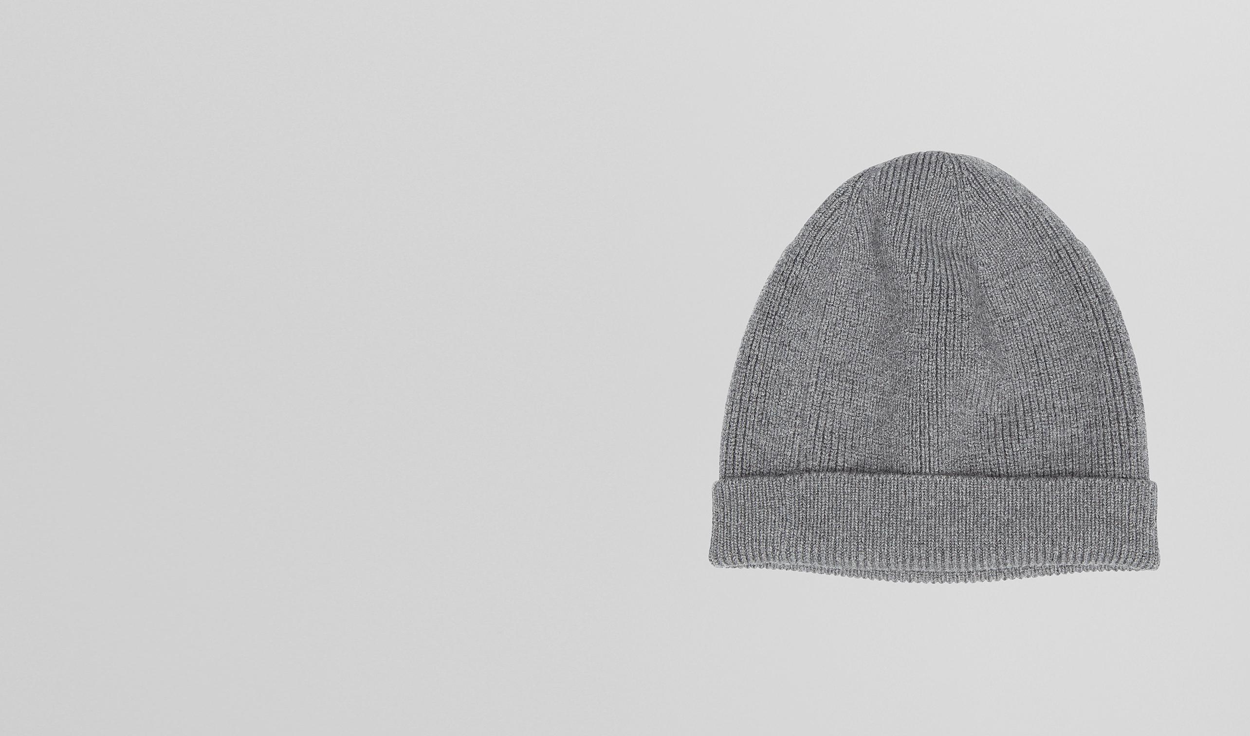 BOTTEGA VENETA écharpe ou gant ou chapeau U BONNET ARDOISE EN MÉLANGE DE LAINE MÉRINOS pl