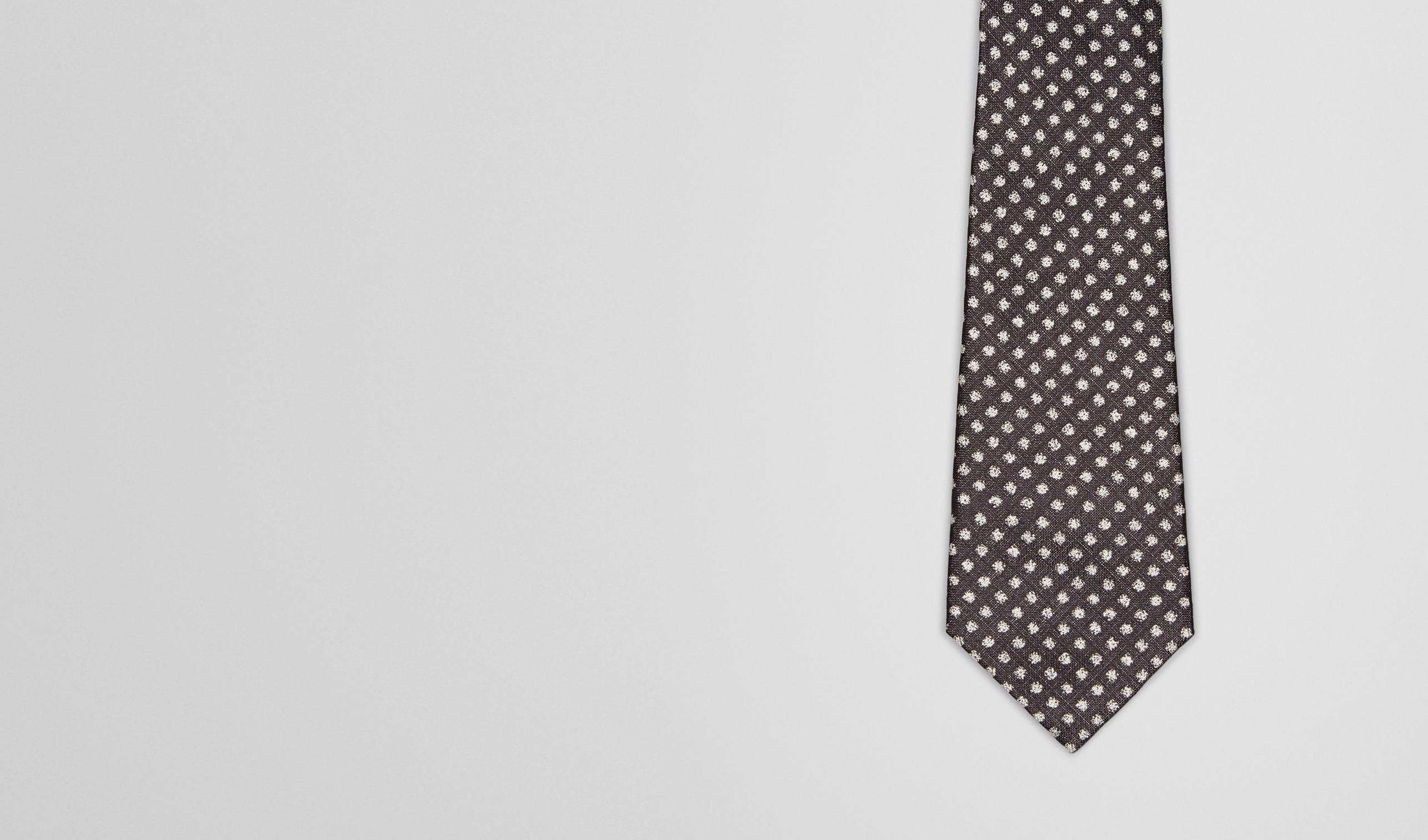 BOTTEGA VENETA Tie U Black Beige Silk Tie pl