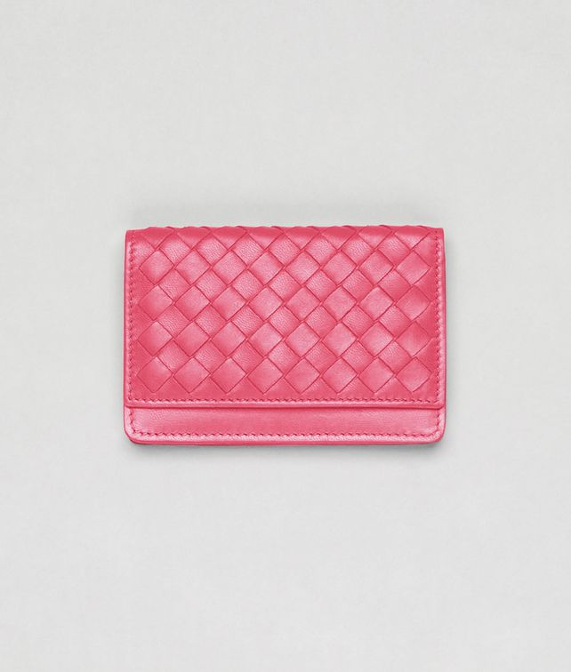 BOTTEGA VENETA Rosa Shock Intrecciato Nappa Card Case Mini Wallet or Coin Purse D fp