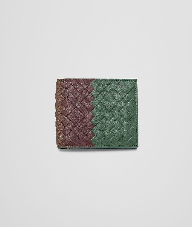 BOTTEGA VENETA Emerald Green Aubergine Edoardo Intrecciato Club Fumé Wallet Bi-fold Wallet U fp