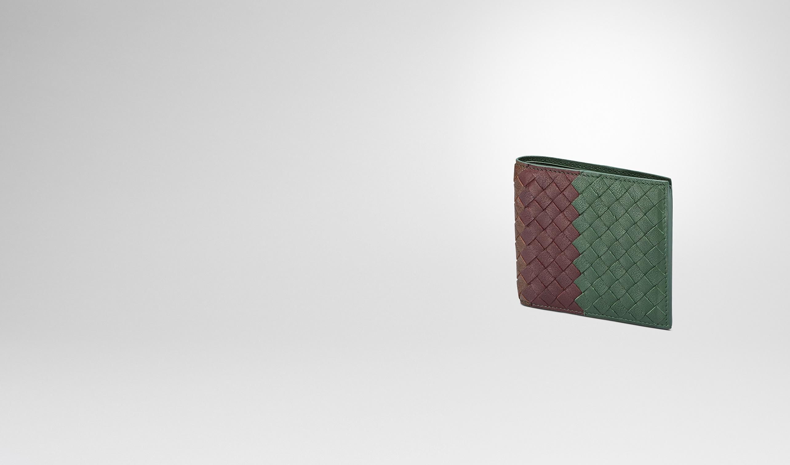 BOTTEGA VENETA Bi-fold Wallet U Emerald Green Aubergine Edoardo Intrecciato Club Fumé Wallet pl