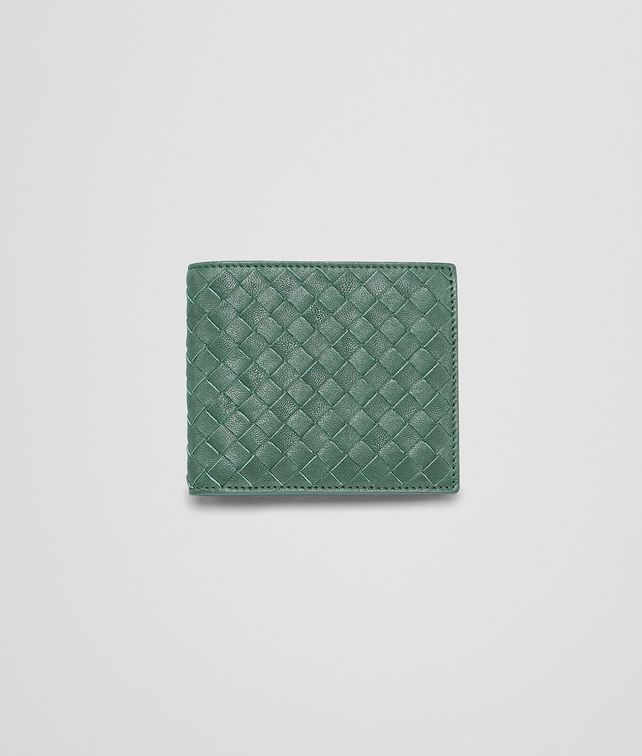 BOTTEGA VENETA Emerald Green Intrecciato Washed Lambskin Wallet Bi-fold Wallet U fp