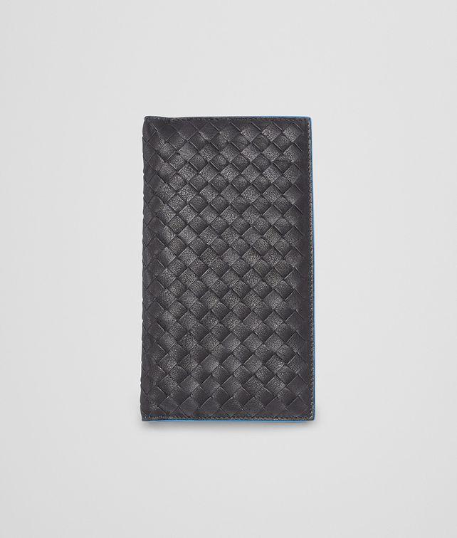 BOTTEGA VENETA Nero Signal Blue Intrecciato Washed Vintage Continental Wallet Continental Wallet U fp