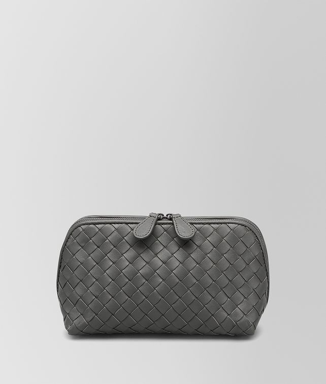 BOTTEGA VENETA MEDIUM COSMETIC CASE IN NEW LIGHT GRAY INTRECCIATO NAPPA Other Leather Accessory Woman fp