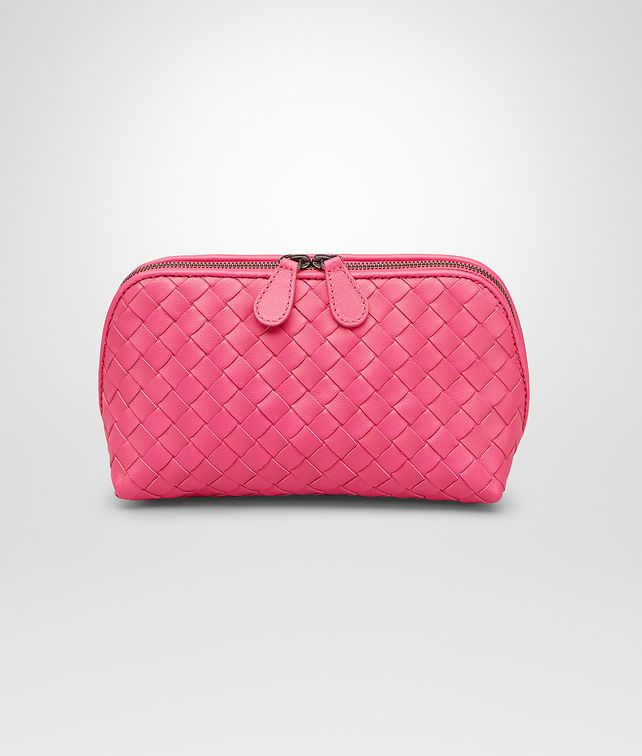 BOTTEGA VENETA BEAUTY CASE ROSA SHOCK IN NAPPA INTRECCIATA Altro accessorio in pelle D fp