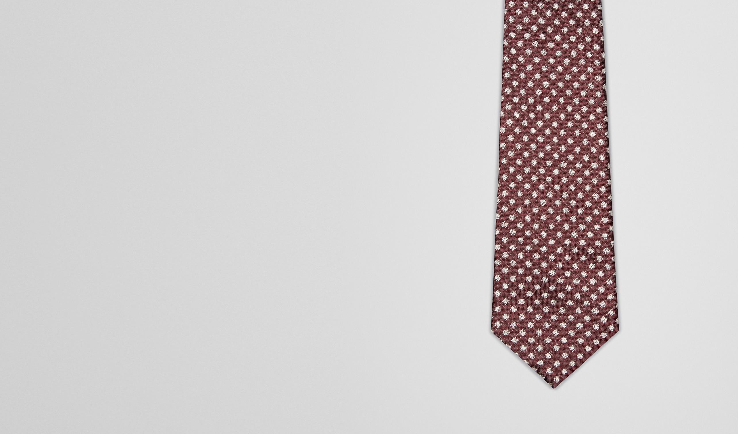 BOTTEGA VENETA Tie U Bordeaux Beige Silk Tie pl