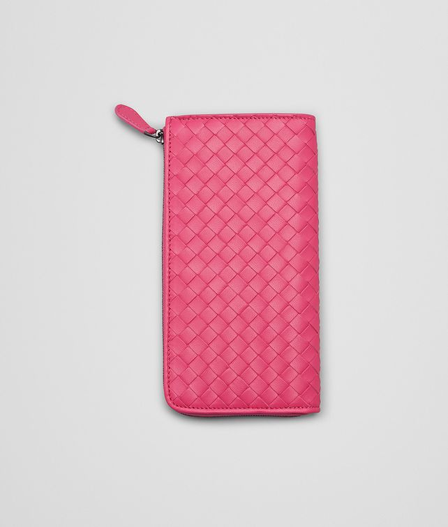 BOTTEGA VENETA ROSA SHOCK INTRECCIATO NAPPA ZIP AROUND WALLET Zip Around Wallet D fp