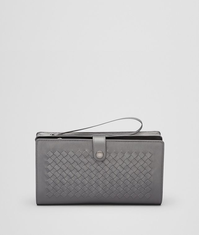 BOTTEGA VENETA MULTI-FUNCTIONAL CASE IN NEW LIGHT GREY CALF, INTRECCIATO DETAILS Small bag U fp
