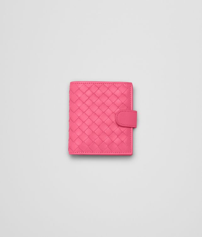 BOTTEGA VENETA ROSA SHOCK INTRECCIATO NAPPA BI-FOLD WALLET Mini Wallet or Coin Purse D fp