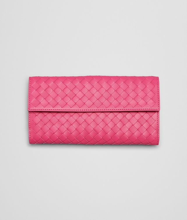 BOTTEGA VENETA PORTEFEUILLE CONTINENTAL ROSE SHOCKING EN NAPPA INTRECCIATO Portefeuille continental D fp