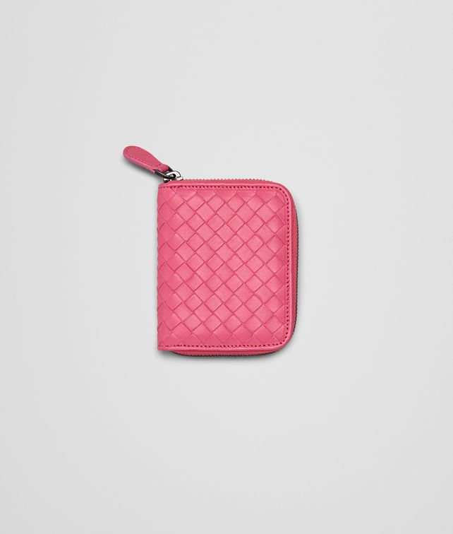 BOTTEGA VENETA ROSA SHOCK INTRECCIATO NAPPA COIN PURSE Mini Wallet or Coin Purse D fp