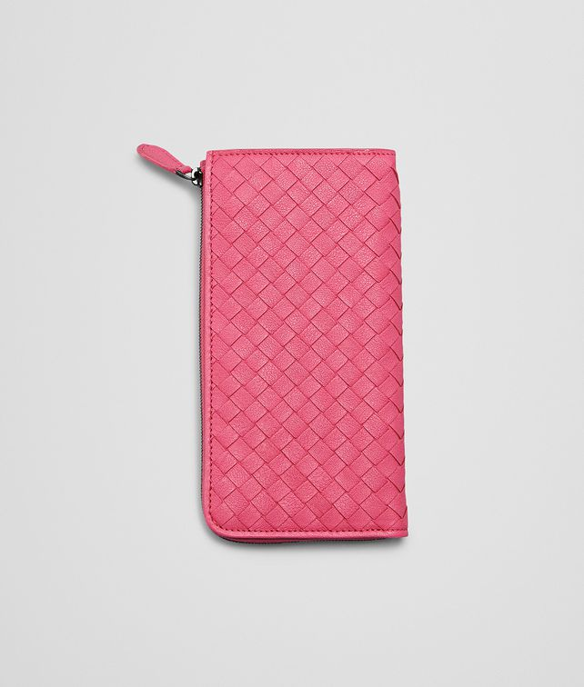 BOTTEGA VENETA ROSA SHOCK Intrecciato Washed Lambskin ZIP AROUND WALLET Zip Around Wallet D fp