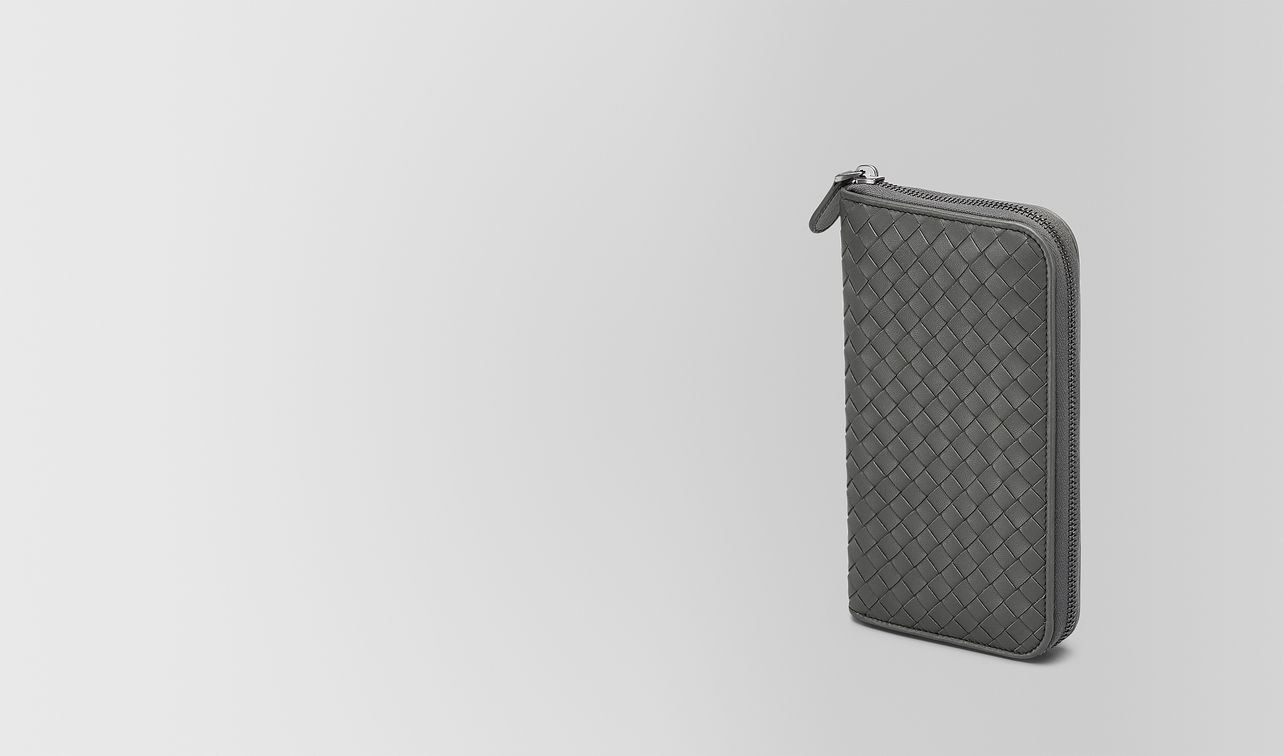 light gray intrecciato nappa zip-around wallet landing